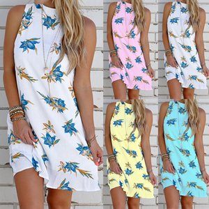 Spot 2021 European spring and summer hot fashion halter printing round neck sleeveless street dress, support mixed batch