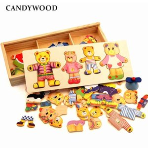 Wooden Bear Change Clothes Classic Bear Family Dress Jigsaw Puzzle Children Eonal Toy Creative Wooden Toys Children Gift 210804