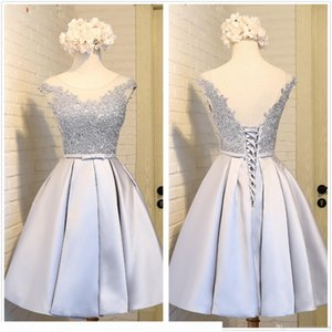 New Sexy Crew Neck Silver Gray Satin A Line Homecoming Dresses Tulle Lace Applique Backless Party Graduation Prom Dresses With Lace Up