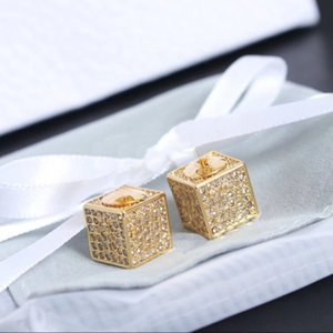 Fashion GOLD CZ stud earrings for lady Women Party Wedding Lovers gift engagement Jewelry for Bride With BOX