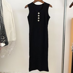 Top Quality Original Design Women's Casual Sleeveless U-neck Dress Fashion Sexy Lady Elegant Package hip Knitted Dresses