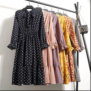 Plus Size Women Dress Womens Clothing Long Sleeve Chiffon Shirt Dresses For Red Bow Floral Club Party Autumn Winter Woman