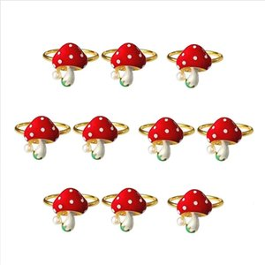 10Pcs Mushroom Napkin Rings Red Ring Holders Holiday Table Decor For Wedding Party Dining Decoration