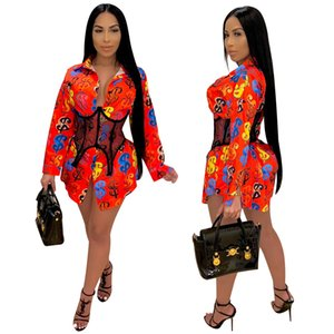 Lady Printed Loose Ladies Shirt Dress Long Sleeve Women Clothing Ladys Fashion Shirts Plus Size S-2XL