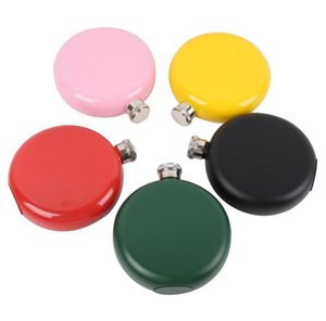 5oz Stainless Steel Round Hip Flask Black  pink  green   Red   Yellow Wholesale