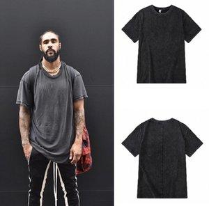 High Street 5a linha principal lavada desgastada t shirt de manga curta de manga curta enorme t-shirt de algodão cinza escuro para homens e mulheres casuais tops Plain Tees
