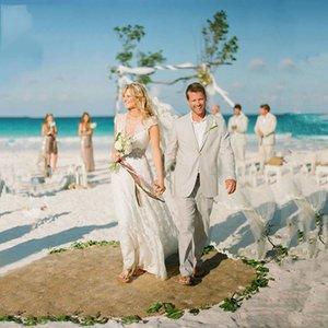 Мужские костюмы Blazers Custom Tree серые льняные мужчины костюм летний пляж свадьба стройный Fit Groom Tuxedo 2 штуки куртка повседневная последняя DES