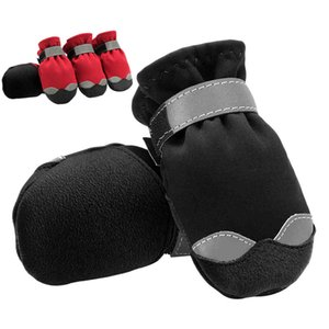 Winter Reflective Warm Pet Boots Waterproof Rain Shoes Snow Booties For Medium Large Dog Pitbull Red Black
