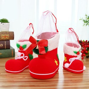 Christmas Candy Boots Decorations Christmas Flocking Boots Xmas Pen Holder Decoration Kid Gifts OWA8770