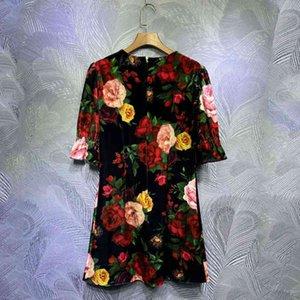 vestido seqiny ed en negro Veet 2021 otoño diseño de moda femenino manga flores cortas impresión de alta calidad mini ny