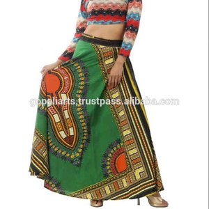 New Indian African Ankara Hippie Dashiki Print High Waist Skater Wrap Around Cotton Beach Dress Women Traditional Wear Skirt