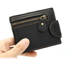 Wholeslae Men's short wallets cowhide leather zipper buckle multifunctional coin purse high quality genuine leathers wallet 7212
