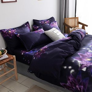 Purple Flower Romantic Fantasy Scenery Comforter Bedding Set Queen Twin Single Duvet Cover Pillowcase Home Luxury Sets