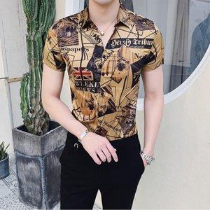 Mens Shirts 2021 Summer Men Short Sleeve Fashion Designer Party Club Prom Shirt Stylish Gold Slim For Men's Dress
