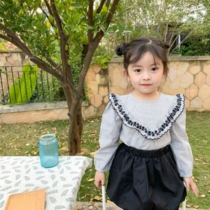 Shirts Spring Arrival Korean Style Cotton Striped With Embroidery Collar Long Sleeve Princess All-match Shirt For Cute Baby Girls
