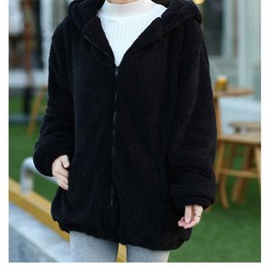 Women's Trench Coats 2021 Autumn Winter Women Hoodies Bear Cubs With Ears And Tail Cartoon Plush Coat Hooded Sweater Female Casual AEHQ0139