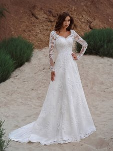 2022 Vestios De Novia Lace Up A-line Wedding Gowns V-neck Appliques Long Sleeves Garden Elegant Bridal Dresses with See hrough Back