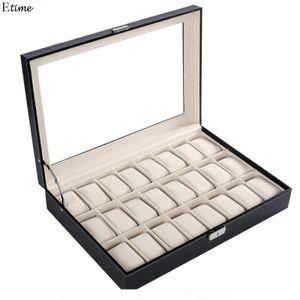 Фанала 24 сетки часы коробка высокого качества PU кожаные часы дисплей коробки ювелирных изделий организатор для наручных часов Boite Montre 2018 SH190729