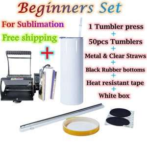 Beginners Sets in 1 order !! 20oz Sublimation straight tumblers 50pcs tumbler press with metal & clear straws rubber bottoms Heat resistant tape white boxes discount