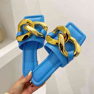 Big Chain Buckle Slippers For Womens Sandals Flat Summer Beach Slides Ladies Brand Design Casual Outdoor Open Toe Flip Flop Shoe