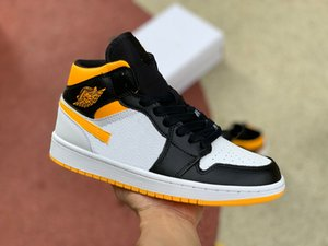 Top quality OG Jumpman 1 basketball shoe for men with black and yellow outdoor sports