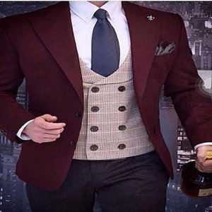 2020 Newest Designs Men's Suit 3 pieces Slim Fit Burgundy Wedding Suits for Men Groom Tuxedo Mens Suits Jacket Vest Pants Set1