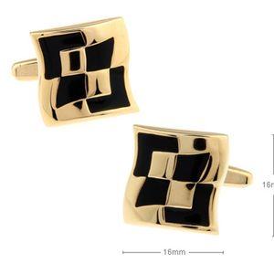Button Boutique enamel metal window French shirt sleeve studs gold buttons Cufflinks