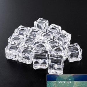 16 unids Cubos de hielo falsos reutilizables Cubiertos de acrílico acrílico acrílico acrílico Cubiertos de whisky Mostrar botones Bodas Decoración de la fiesta