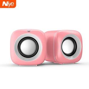 USB Wired Computer Speakers Pink Laptop Speaker Subwoofer Deep Bass Sound Box Music Player Loudspeaker Haut-parleurs Cute Column