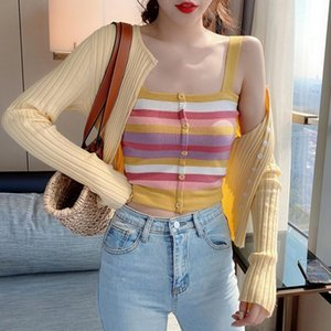 Women's Tanks & Camis Rainbow Stripe Knitted Vest Outer Wear Camisole Sleeveless Crop Tops Sling 2021 Trendy Tank Top One Size