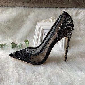 With box Casual Designer sexy lady fashion women shoes Black crystal mesh point toe high heels stiletto stripper bride wedding pumps 12cm 10cm 8cm large size 44
