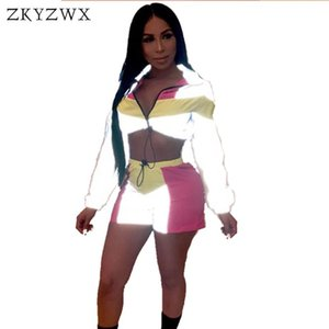 Reflective Tracksuit Two Piece Matching Sets Festival Crop Top+Biker Shorts Suit Sexy 2 Outfits For Women Clothes Women's Pants
