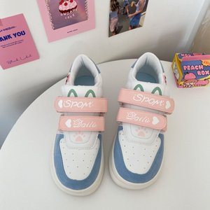 Cow White round Head Thick Bottom White Shoes Female Students Height Increasing Insole Ins Hong Kong Style Sports Cute Casual Sneakers