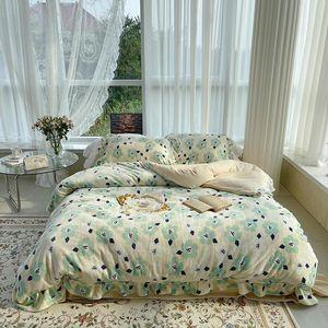 Bedding Sets Shaggy Velvet 4Pcs Duvet Cover Bed Sheet Pillowcases Double Queen King Ultra Soft Elegant Flowers Pretty Girls Set