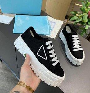 2021 designer femmes nylon chaussures décontractées gabardine classique toile sneakers marqueur wheel dame styliste formateurs plat plate-forme massif forgé chaussure