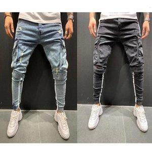 Mens Jeans Side Stripe Pencil Pants Hip Hop Trousers Multi Pockets Skinny Jeans Male Jogging Cargo Pants new