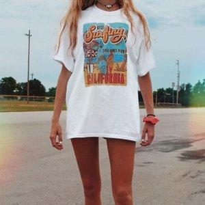 Urlaub Strand T-Shirt Sommerweiß T-Stück der beste Surfing-Frauen Retro-Stil T-shirt beiläufig übergroßes T-Stück