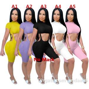 Mujeres Trajes de 2 piezas Conjunto de 2 piezas Diseñador de la cintura de manga corta de la manga corta Pantalones de la suspensión del club Moda Moda Pantalones largos Casual Sports Traje