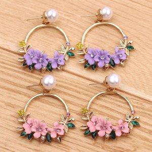 Stud Purple Pink Flower Earrings Girls Sweet Pearl Pendant Summer Fashion Plants Elegant Women's Jewelry Holiday Gifts