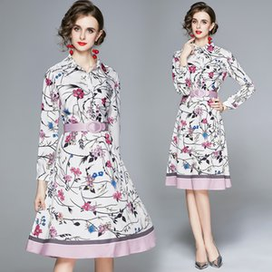 2021 Runway Floral White Shirt Dress Luxury Designer Long Sleeve Lapel Printed Ladies Prom Knee-Length Dresses Business Party Office Spring Autumn Women Clothes