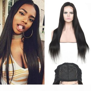 Malaysian Unprocessed Human Hair Straight 4X4 Lace Closure Wig Natural Color Silky Straight Mink Virgin Hair Four By Four Closure Wigs