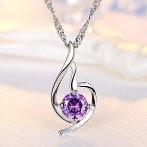 Women Heart Pendant Necklace 925 Sterling Silver Ladies Luxury Zirconia Amethyst Crystal Pendant Water Necklace Purple Silver Color 347 N2