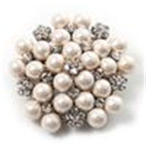 Crystal 2.2 pollici rodio argento placcato sereno strass bianco faux perla neve fiore fiore nuziale spilla gioielli