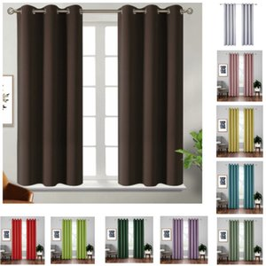 Blackout Curtains Thermal Insulated Room Darkening Bedroom And Living Rooms Curtain Solid Color Home Window Treatments 18 Colors HH21-260