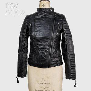 Novmoop Genuine Leather Quality Sheepskin Women Jacket Motocycle Style Chic Last Piece Clearance Liquidation Veste En Cuir C2 Women's & Faux