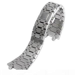 28 ملليمتر الفضة الصلبة الفولاذ المقاوم للصدأ watchband ل AP ساعات الرجال النساء ووتش سوار حزام مع فراشة مشبك + 2 قضبان الربيع