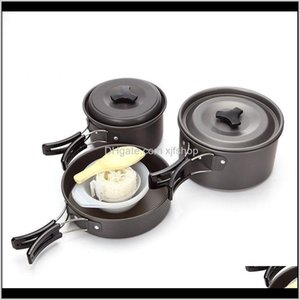 Camp Kitchen 23 People 9 In 1 Aluminum Alloy Outdoor Camping Cookware Pot Set Hiking Backpacking Cooking Picnic Pan With Spoon Bowl Gl Ukl71