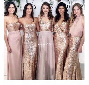 Blush Pink Bridesmaid Dress With Rose Gold Sequin Long Country Garden Formal Party Guest Maid of Honor Gown Plus Size Custom Made