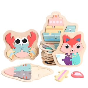Kids Wooden 3D Puzzle Jigsaw Toys For Children Cartoon Animal Vehicle Wood Puzzles Intelligence Kid Baby Early Educational TXTB1 1288 Y2