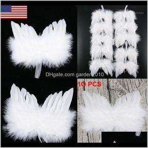 Décorations 10pcs White Feather Wing Lovely Chic Angel Arbre de Noël Décoration suspendue Accueil / Ornament de fête / Ornements de mariage1 QLYEA HEHRI